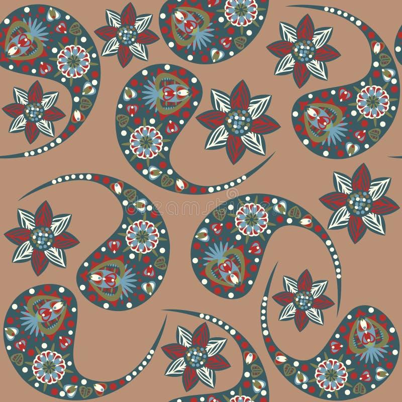 Nahtloses Muster Vektor-Paisleys lizenzfreie abbildung