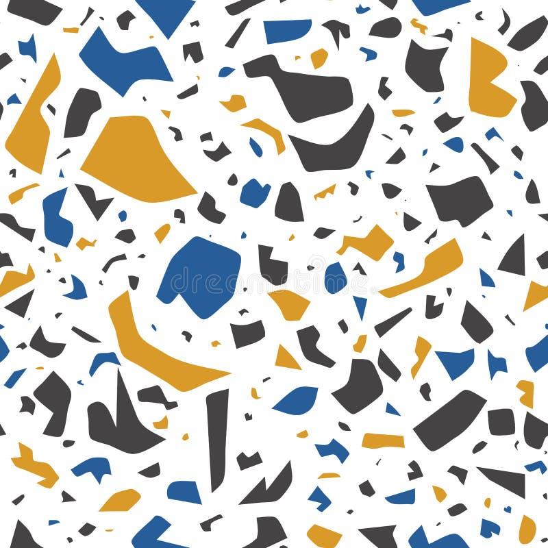 Nahtloses Muster Vektor Terrazzo, Wandhintergrund mit chaotischen Flecken stock abbildung
