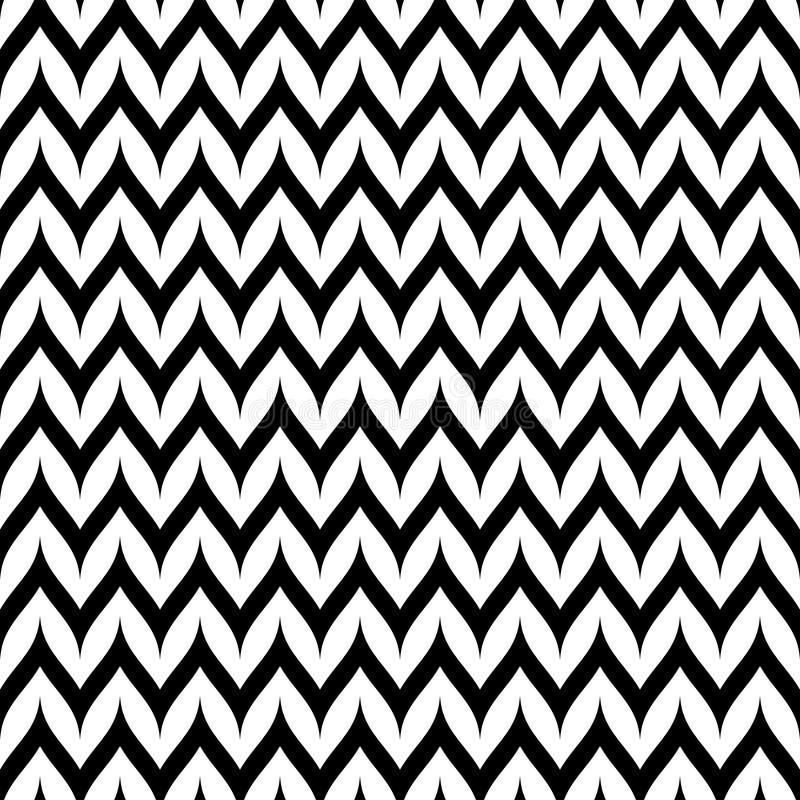 Nahtloses Muster Vektor-Zickzack-Chevrons Gebogene gewellte Zig Zag -Linie lizenzfreie abbildung
