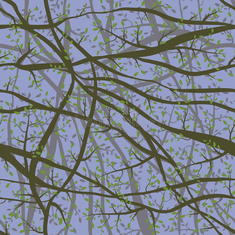Nahtloses Muster verwirrte Brown-Niederlassungen mit grünen Blättern auf den blauen violetten Himmelwolken, die Hintergrund glätt vektor abbildung