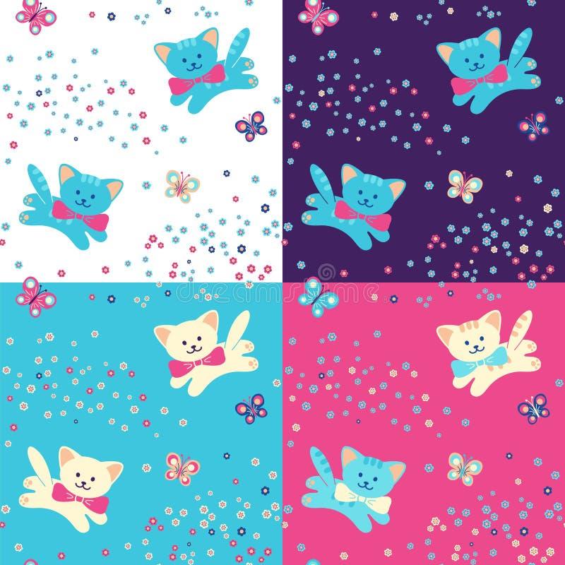Nahtloses Muster vier Katzen, Blumen und Schmetterling stock abbildung
