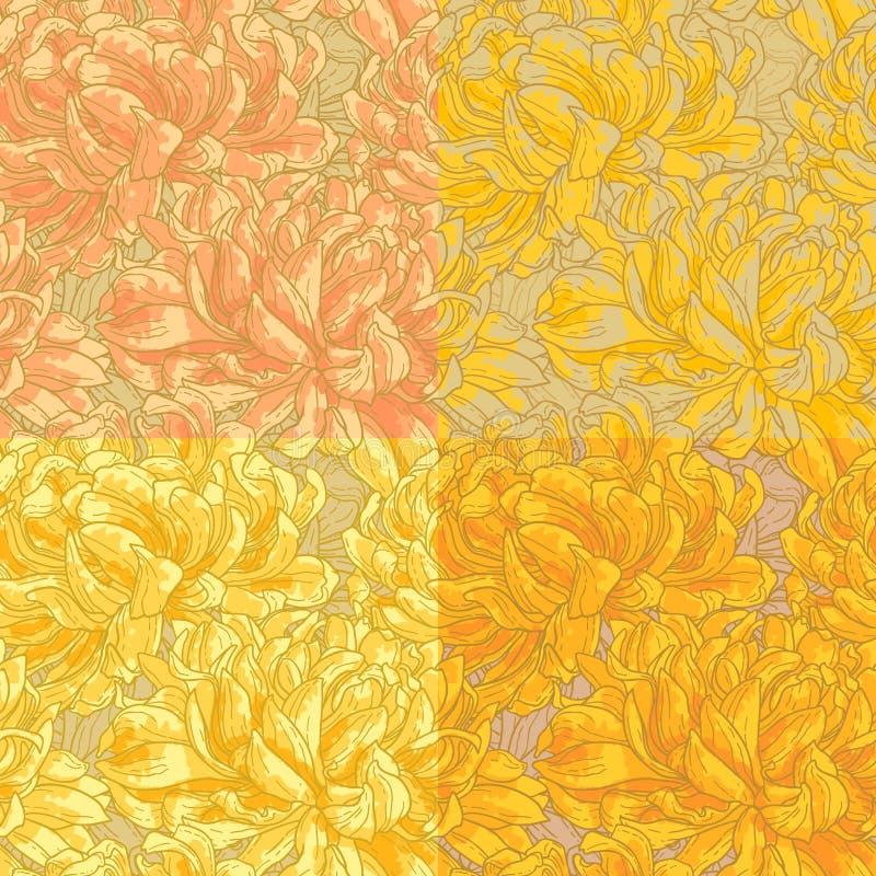 Nahtloses Muster vier mit Chrysantheme stock abbildung
