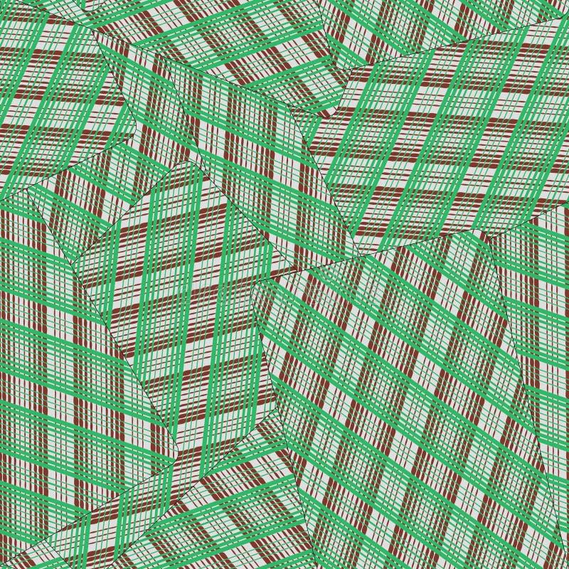 Nahtloses Muster vom Spielkartegesicht unten Von den grünen und braunen Streifen vektor abbildung