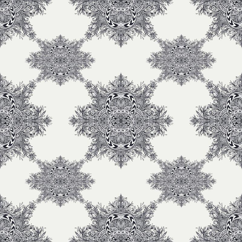 Nahtloses Muster vom Weinlese-Zusammenfassungsblumenverzierungsschwarzen auf Weiß stock abbildung