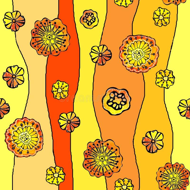 Nahtloses Muster von abstrakten Blumen Mohnblume, Sonnenblume Grafiken auf einem Aquarellhintergrund, für den Entwurf von Hinterg stock abbildung