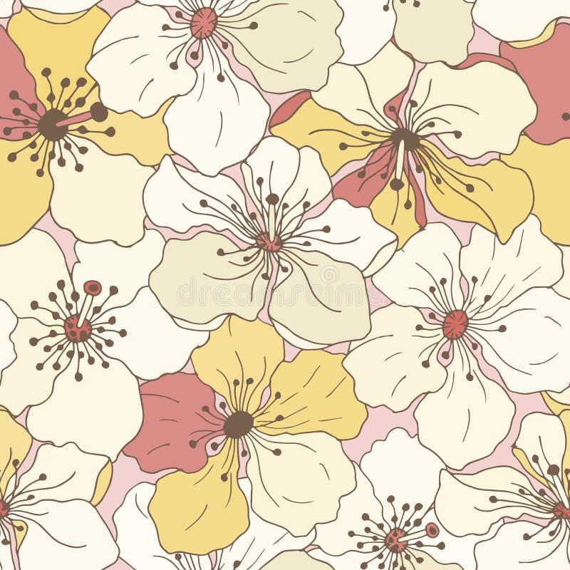 Nahtloses Muster von Apfelblumen vektor abbildung