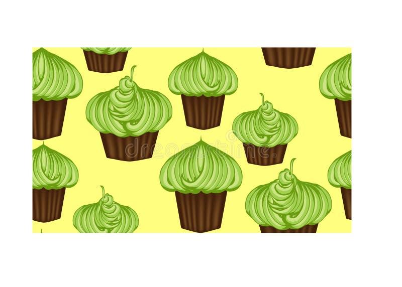 Nahtloses Muster von appetitanregenden kleinen Kuchen mit grüner Creme und Minze stock abbildung