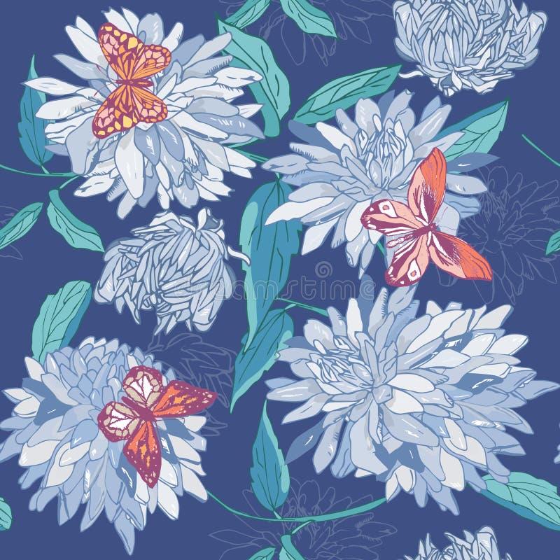 Nahtloses Muster von blauen Blumen mit Blättern und Schmetterlingen auf einem blauen Hintergrund Aster, Chrysantheme, Gerbera flo vektor abbildung