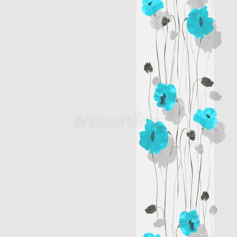Nahtloses Muster von blauen Blumen von Mohnblumen auf einem hellgrauen Hintergrund mit Streifen watercolor vektor abbildung