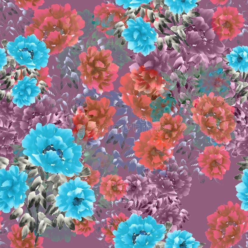 Nahtloses Muster von blauen, rosa, weinartigen Blumen auf einem tiefrosa Hintergrund Ausführliche vektorzeichnung watercolor lizenzfreie abbildung
