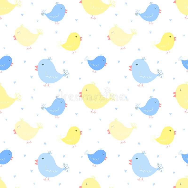 Nahtloses Muster von blauen und gelben Vögeln mit Herzen Vektorbild für Jungen und Mädchen Illustration für Feiertag, Babyparty,  vektor abbildung