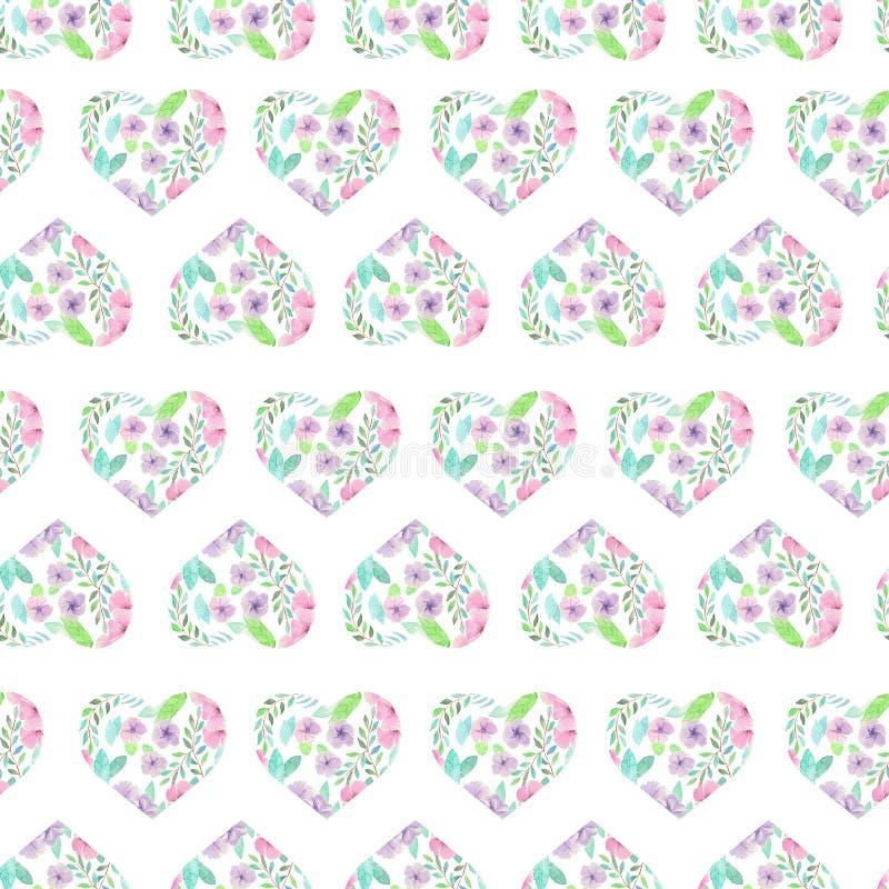 Nahtloses Muster von Blumenaquarellherzen vektor abbildung