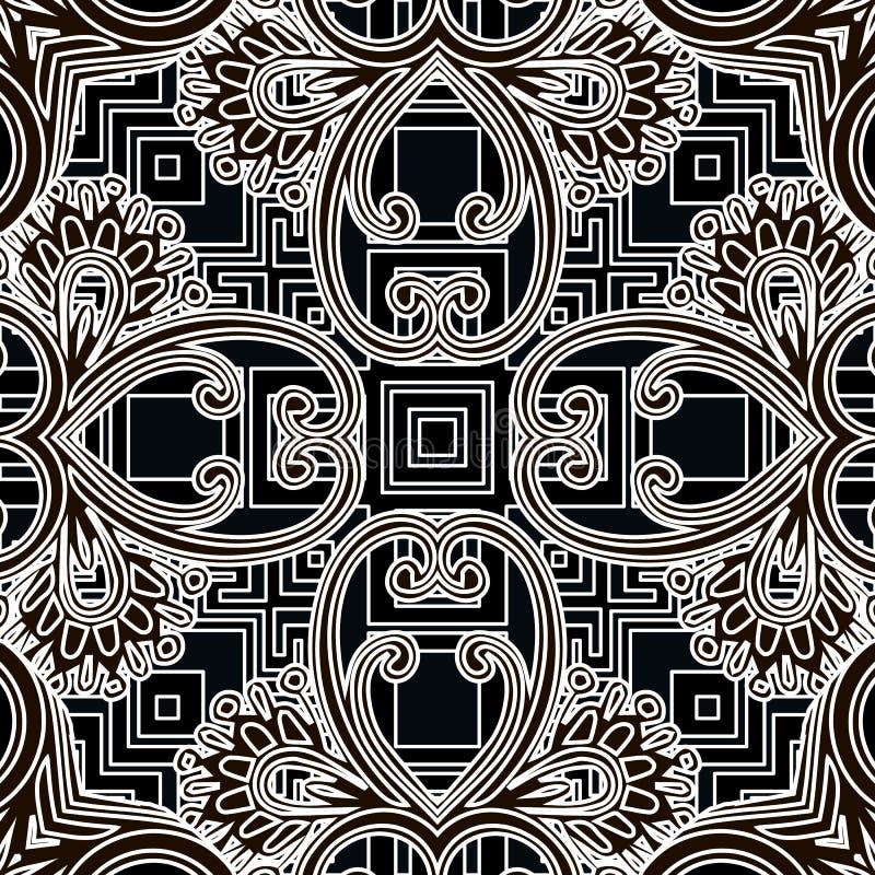 Nahtloses Muster von Blumenvektor Stammeshintergrund Ethnisch wiederholte schwarz-weiße Geometrie Hintergrund Symmetrische Linien stock abbildung