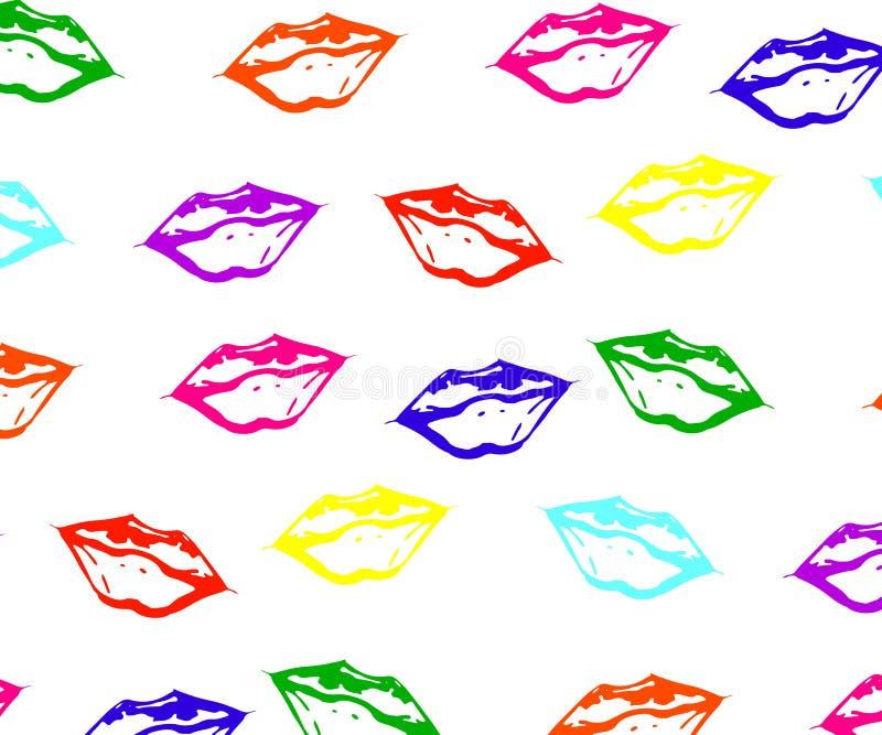 Nahtloses Muster von bunten Lippen mit weißem grellem Glanz lizenzfreie abbildung