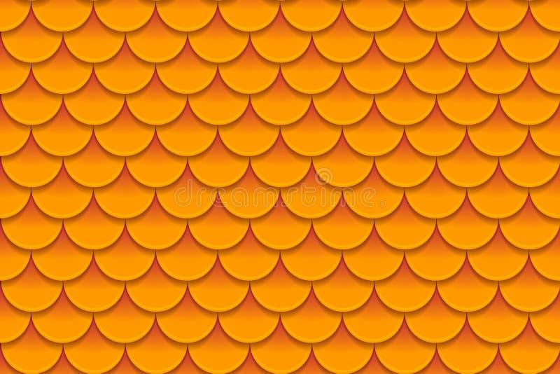 Nahtloses Muster von bunten orange Fischschuppen Fischschuppen, Drachehaut, japanischer Karpfen, Dinosaurierhaut, Pickel vektor abbildung