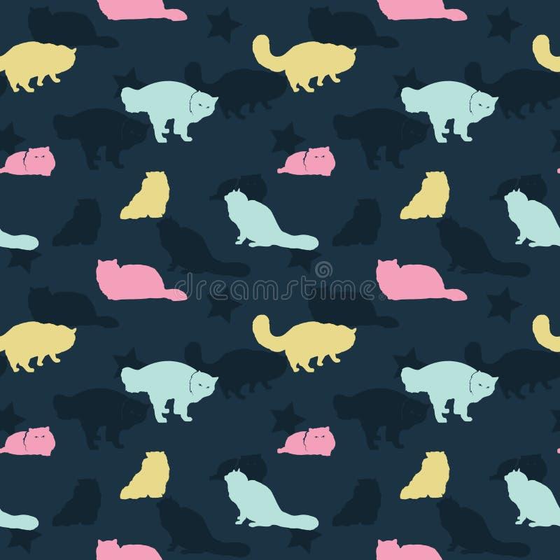 Nahtloses Muster von Cat Silhouette Wallpaper Background lizenzfreie abbildung