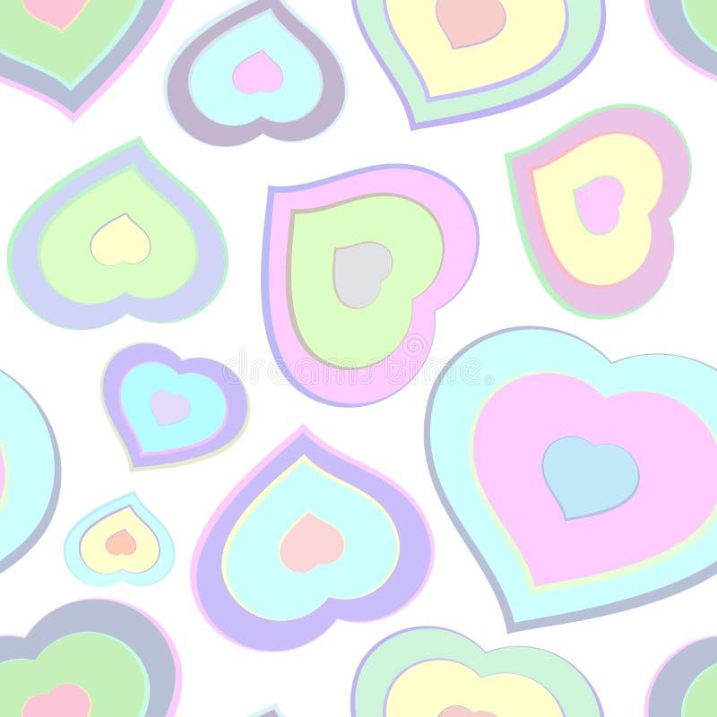 Nahtloses Muster von den Farbherzen stock abbildung