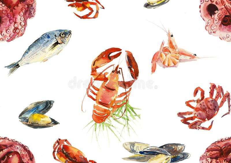 Nahtloses Muster von den Fischen und von den Meeresfrüchten Gezeichnete Illustration des Aquarells Hand lizenzfreie abbildung