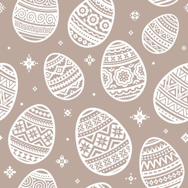 Nahtloses Muster von den flachen Ikonen des weißen Osterei-Vektors gemalt in der Trachtenmode lizenzfreie abbildung