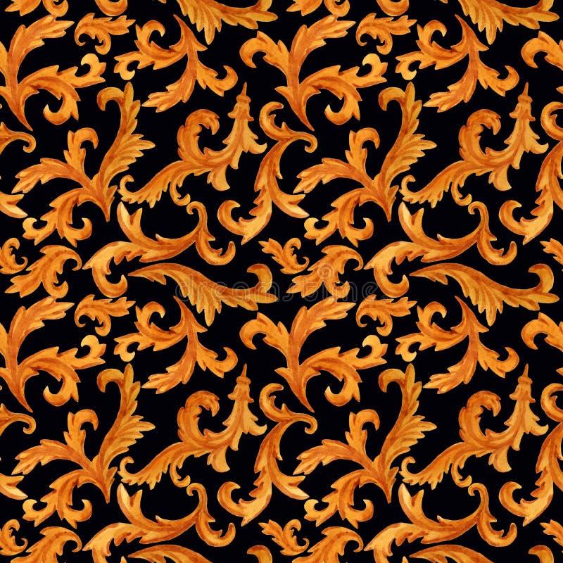 Nahtloses Muster von den goldenen Elementen der barocken Rokokoart lokalisiert auf Hintergrund vektor abbildung