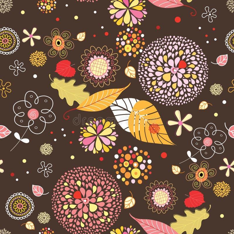 Nahtloses Muster von den Herbstblättern und -blumen vektor abbildung