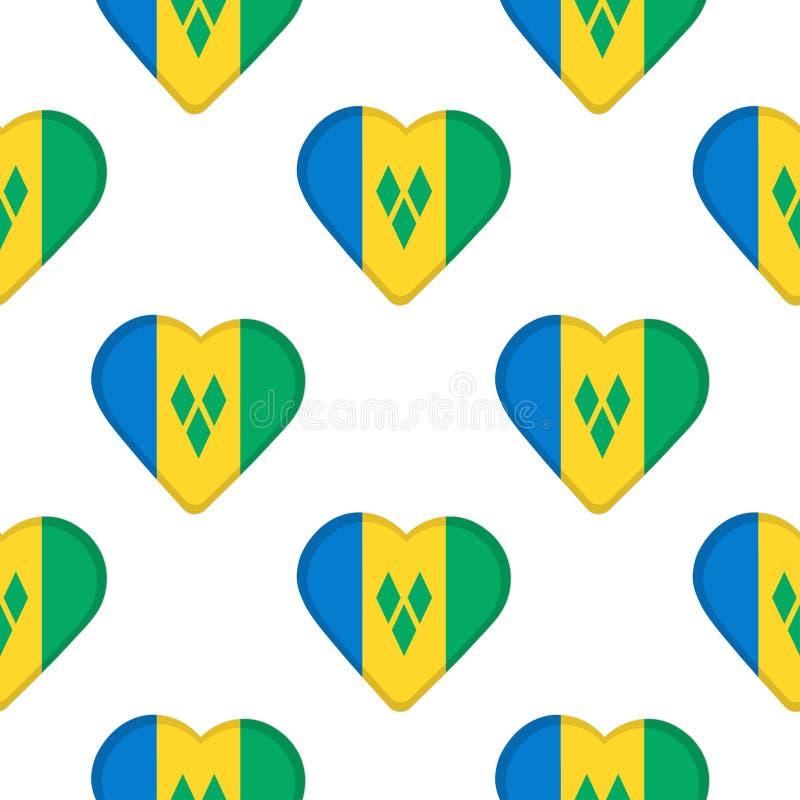 Nahtloses Muster von den Herzen mit Flagge des Heiligen Vincent und vektor abbildung