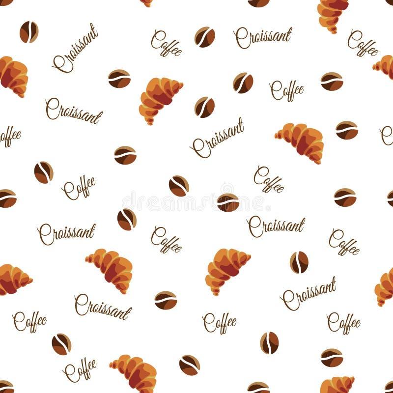 Nahtloses Muster von den Kaffeebohnen und von den Hörnchen auf einem weißen Hintergrund Hintergrund für das Menü von Restaurants  lizenzfreie stockbilder