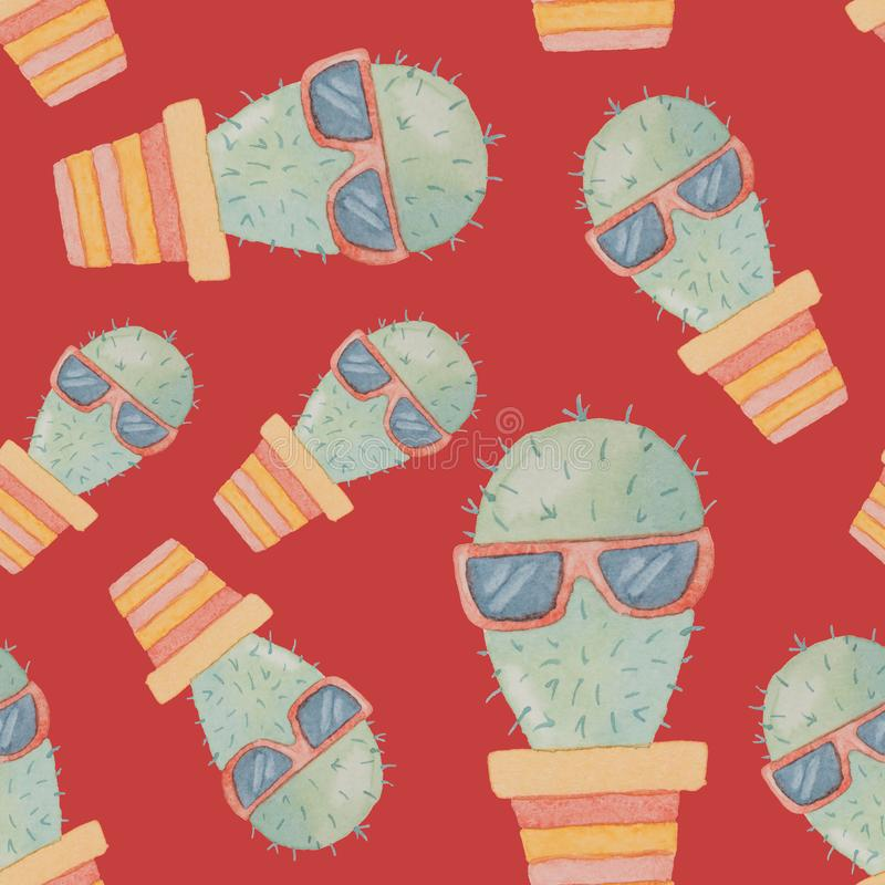 Nahtloses Muster von den Kaktuscharakteren gemalt im Aquarell vektor abbildung