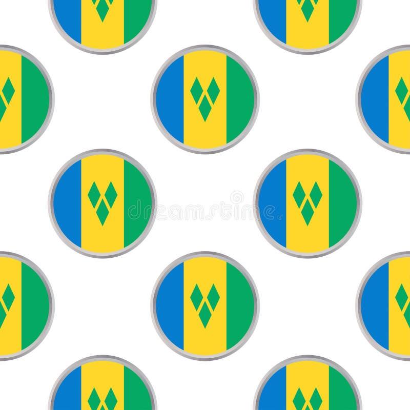 Nahtloses Muster von den Kreisen mit Flagge des Heiligen Vincent und vektor abbildung