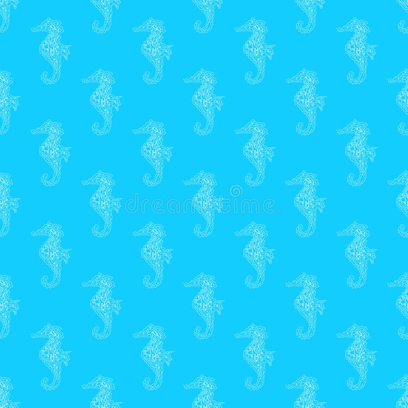 Nahtloses Muster von den Seahorses lokalisiert auf weißem Hintergrund Hand gezeichnete nahtlose Illustration umrei? stock abbildung