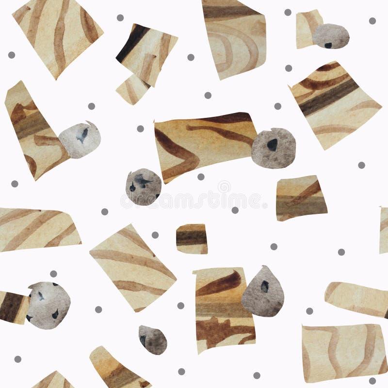 Nahtloses Muster von den strukturellen geometrischen Formen, die Holz und Steine auf einem weißen Hintergrund nachahmen vektor abbildung