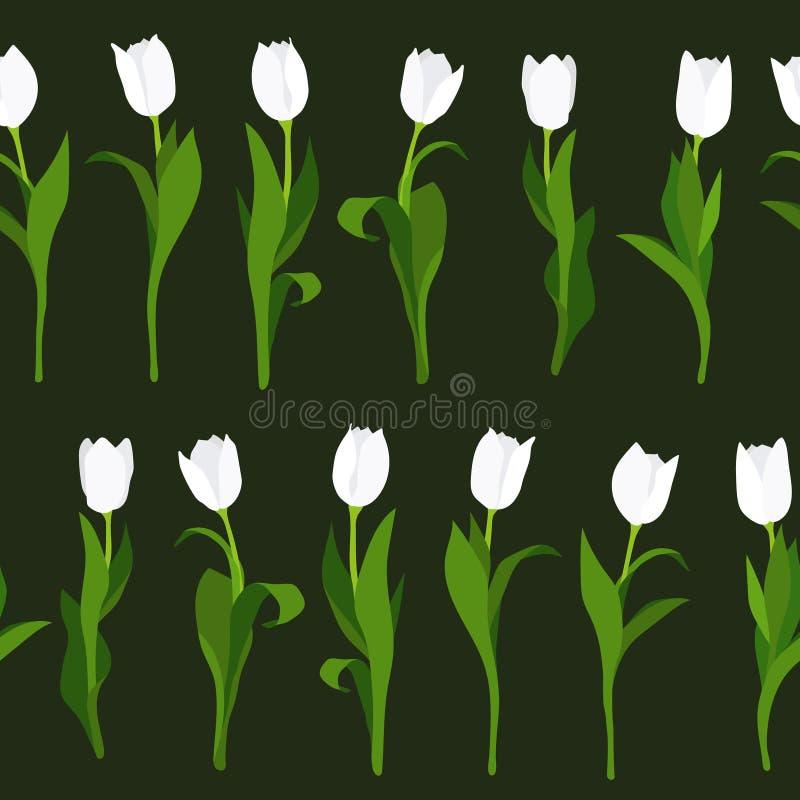 Nahtloses Muster von den weißen Tulpen eigenhändig gemalt auf schwarzem Hintergrund In der vertikalen Position lizenzfreie abbildung
