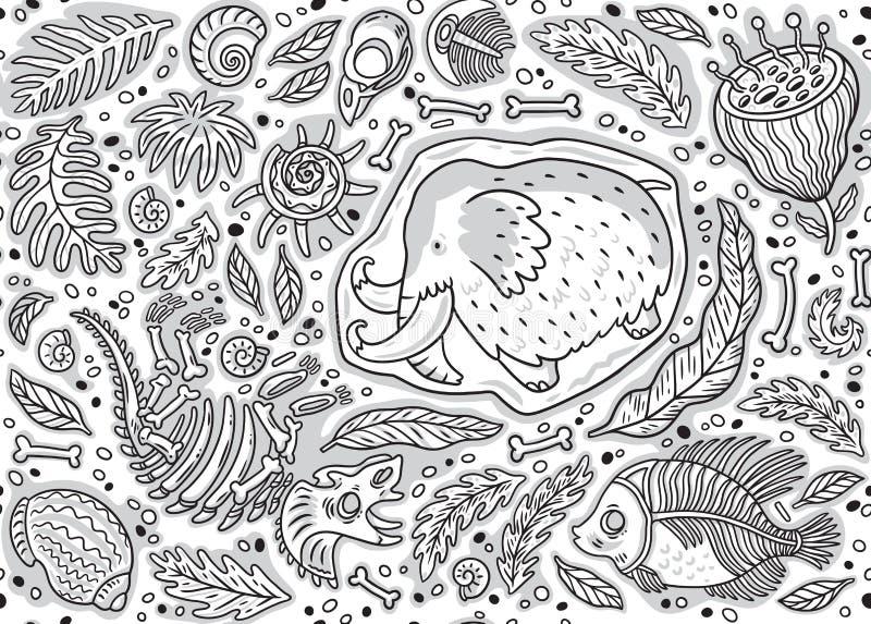 Nahtloses Muster von Dino-Fossil, Mammut im Eis, in den alten Ammonitfarnen, im trilobite, in den Blättern und in den Felsen in d lizenzfreie abbildung