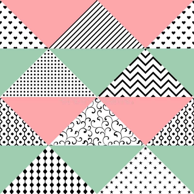 Nahtloses Muster von Dreiecken mit verschiedenen Beschaffenheiten Das patte stockfoto