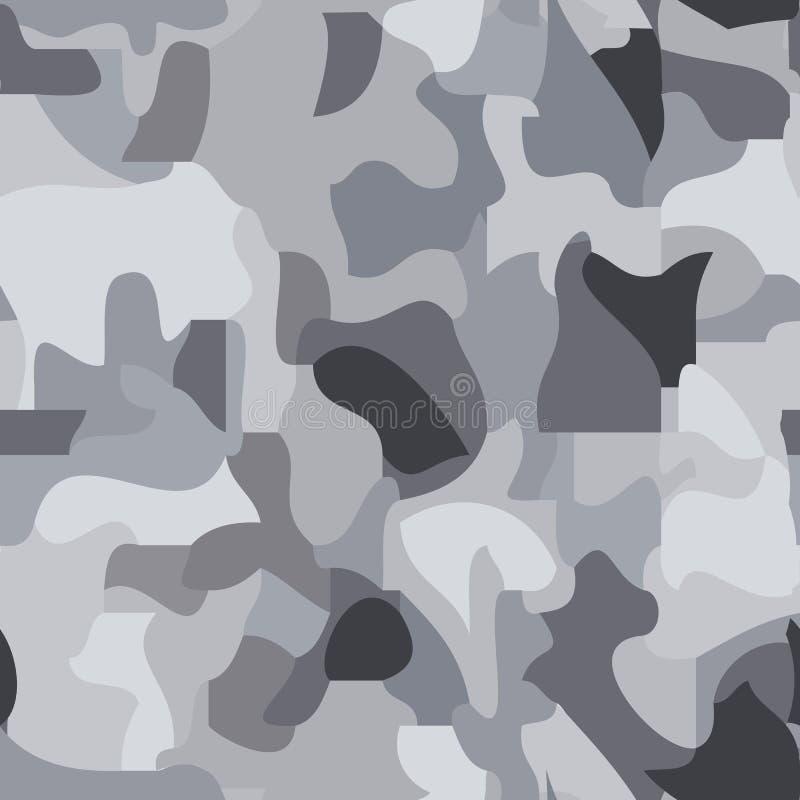 Nahtloses Muster von dunklen und hellgrauen Stellen, Tarnung, nah an der Beschaffenheit und der Farbe des Granits stock abbildung