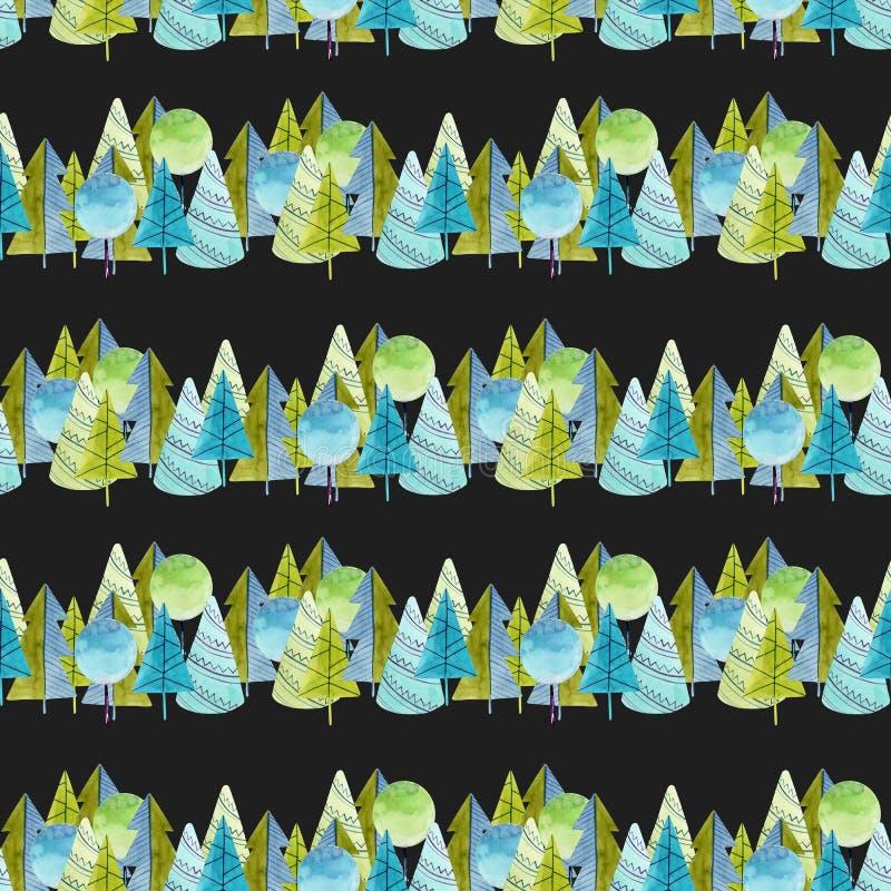 Nahtloses Muster von einfachen B?umen und Fichten des Aquarells auf einem dunklen Hintergrund lizenzfreie abbildung