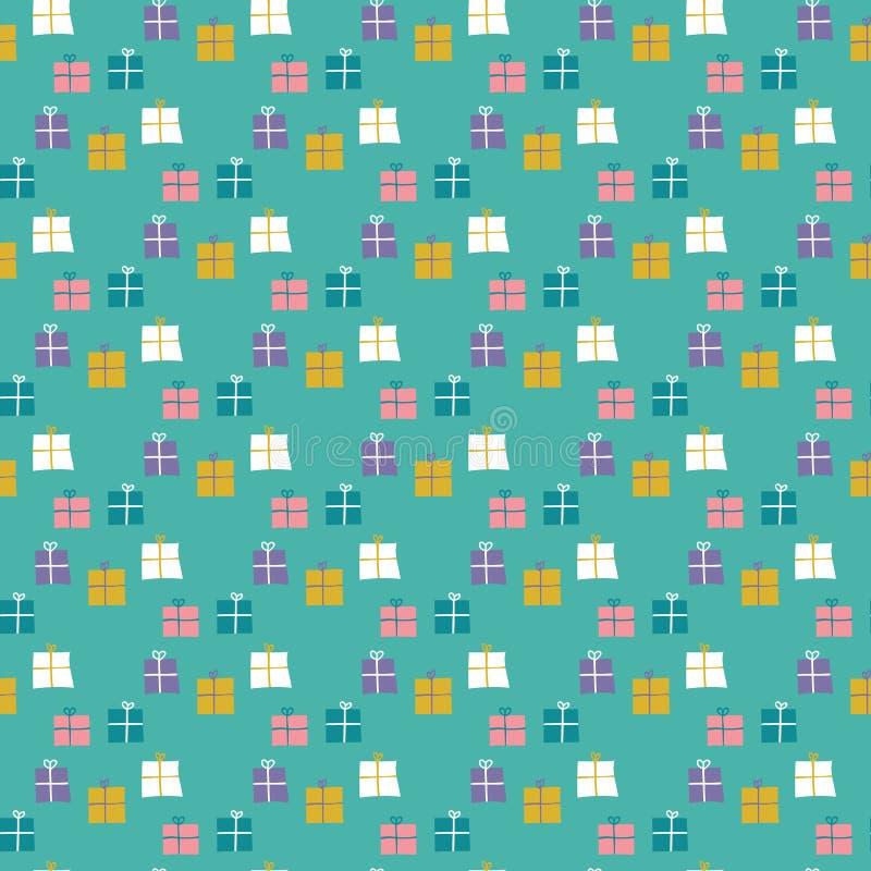 Nahtloses Muster von eingewickelten Geschenken auf einem tadellosen gr?nen Hintergrund lizenzfreie abbildung
