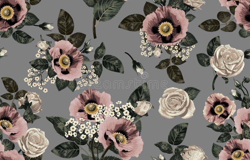 Nahtloses Muster von elegantem erröten getonte Blumen auf einem schwarzen Hintergrund stockfoto
