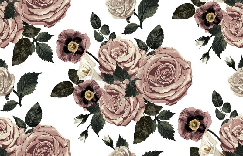Nahtloses Muster von elegantem erröten getonte Blumen auf einem schwarzen Hintergrund lizenzfreie stockfotografie