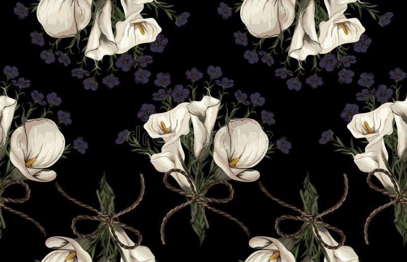 Nahtloses Muster von elegantem erröten getonte Blumen auf einem schwarzen Hintergrund lizenzfreie stockbilder