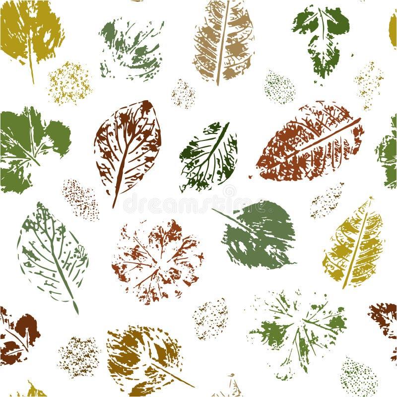 Nahtloses Muster von farbigen Blattstempeln auf einem weißen Hintergrund Vektor lizenzfreie abbildung