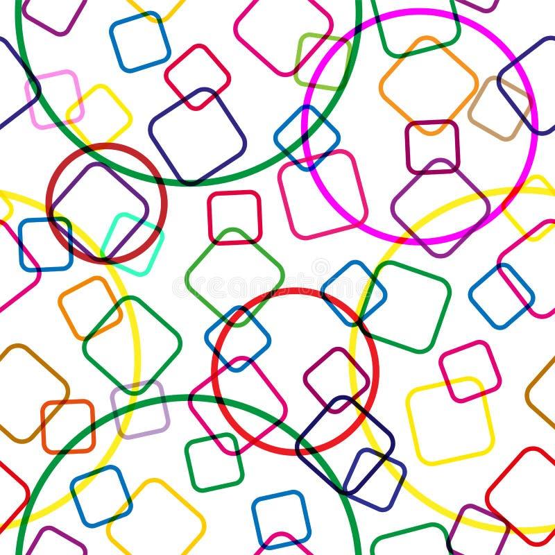 Nahtloses Muster von farbigen schneidenen Quadraten und von Kreisen, transparenter Hintergrund, moderne gelegentliche Farben lizenzfreie abbildung