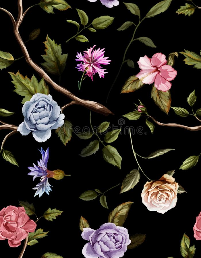 Nahtloses Muster von Gartennelkenblumen, Rosen, Pfingstrose, Blätter, Kornblumen vektor abbildung