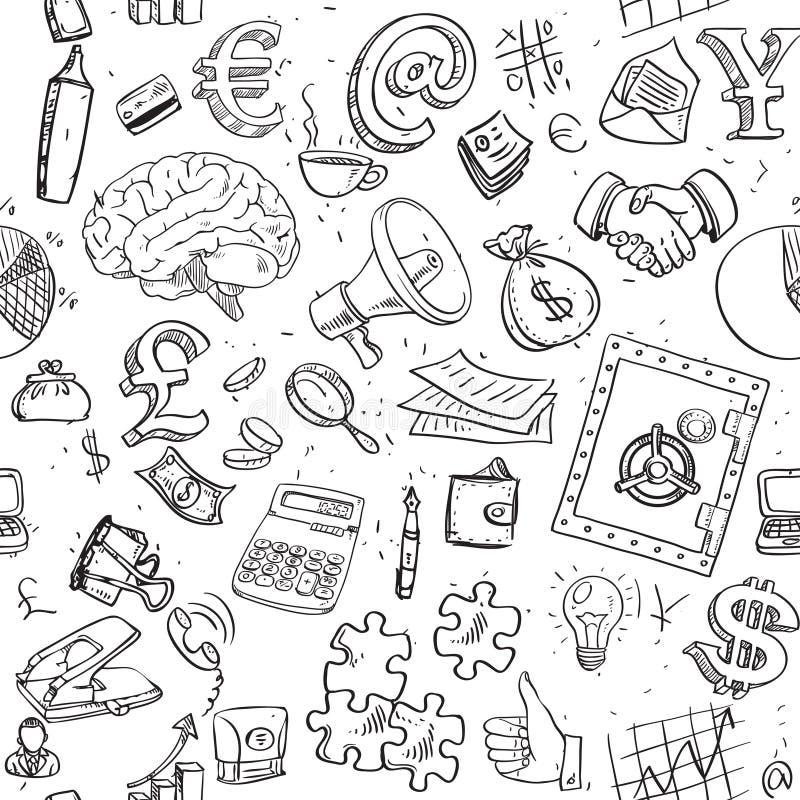 Nahtloses Muster von Gekritzeln auf Geschäftsthema lizenzfreie abbildung