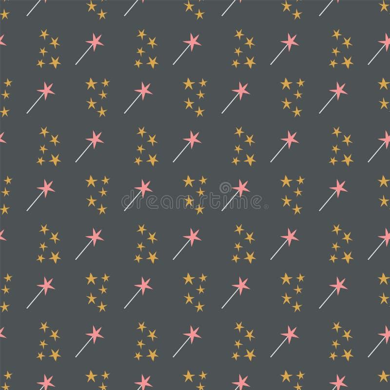 Nahtloses Muster von gelben Sternen und von magischen Stäben auf einem dunkelgrauen Hintergrund stock abbildung