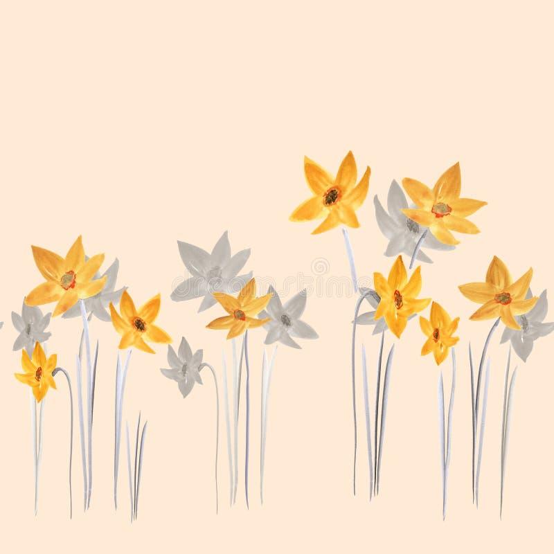 Nahtloses Muster von gelben und grauen Blumen des Frühlinges auf einem hellen beige Hintergrund watercolor stock abbildung