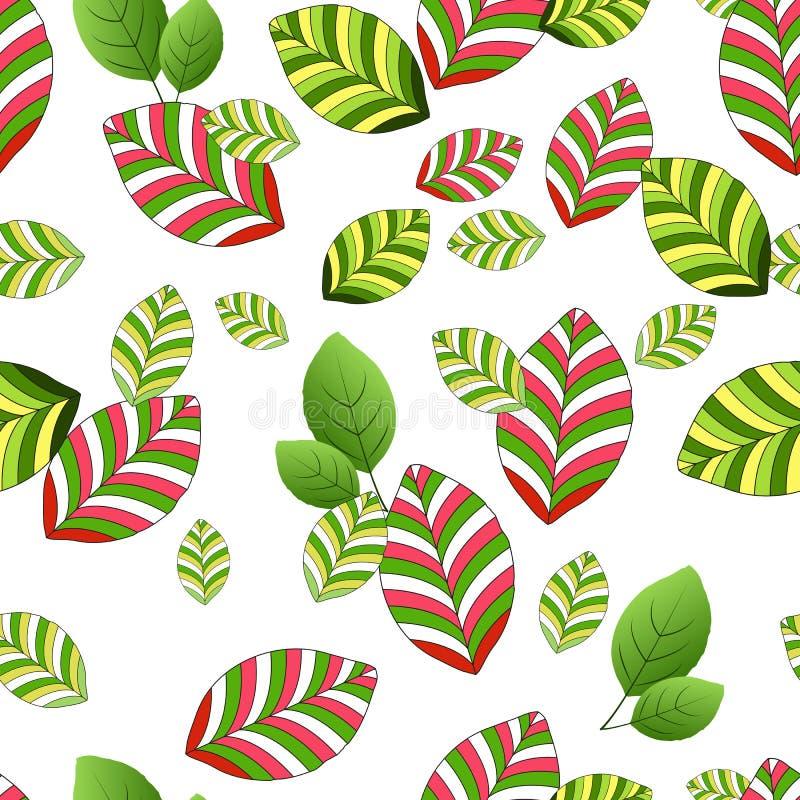 Nahtloses Muster von gelbgrünen und rot-grünen gestreiften Blättern, auf einem weißen Hintergrund vektor abbildung