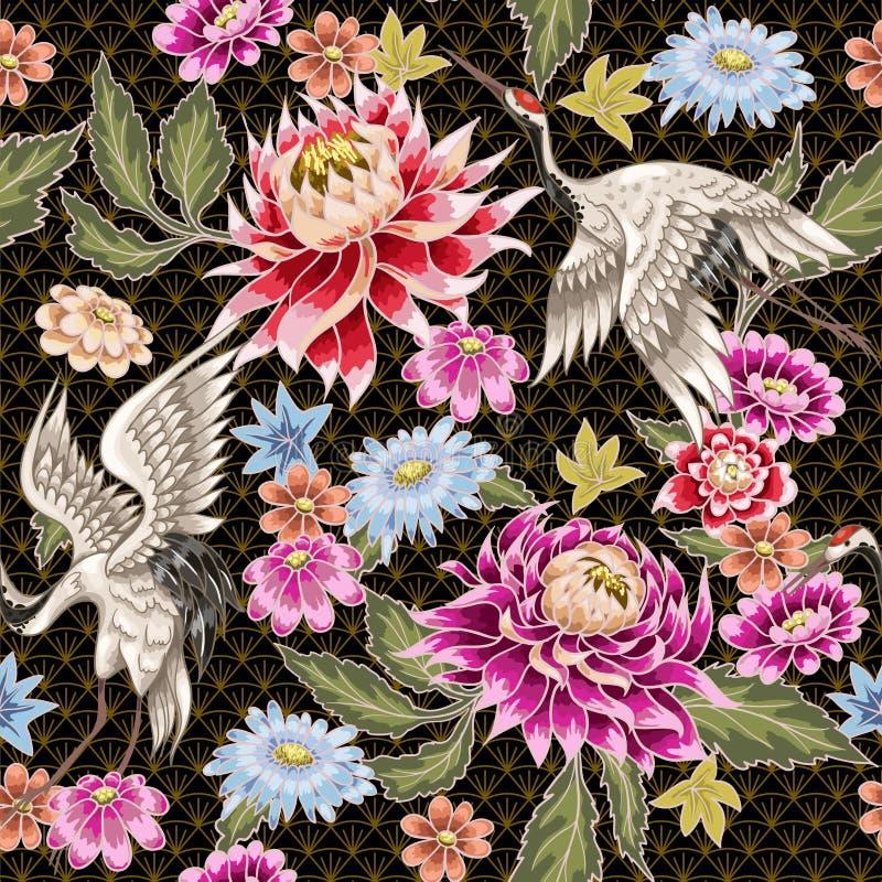Nahtloses Muster von gemalten Asterblumen und von den weißen Kränen Japanische Art lizenzfreie abbildung