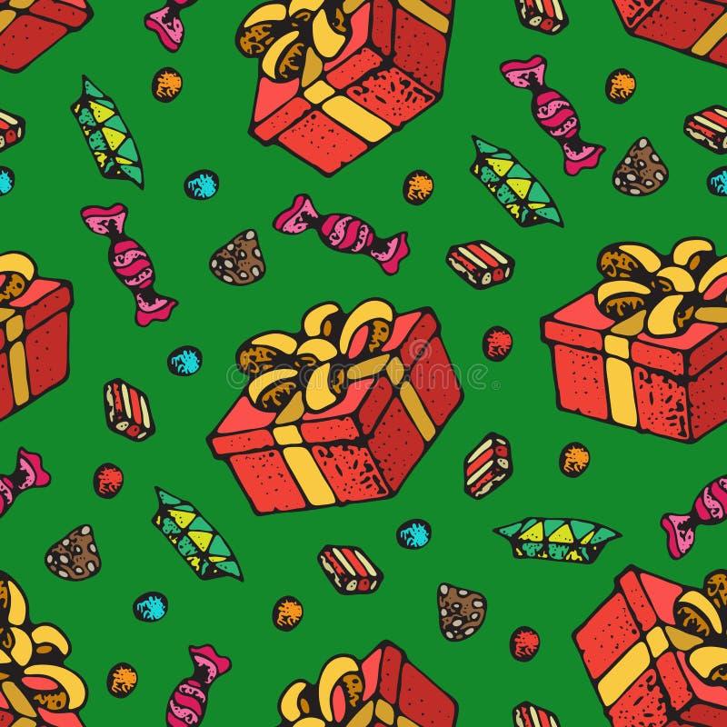 Nahtloses Muster von Geschenkboxen mit Band und Süßigkeit, Bonbons Vektor-Hintergrund für Geburtstags-Feier, Weihnachten, Valenti lizenzfreie abbildung