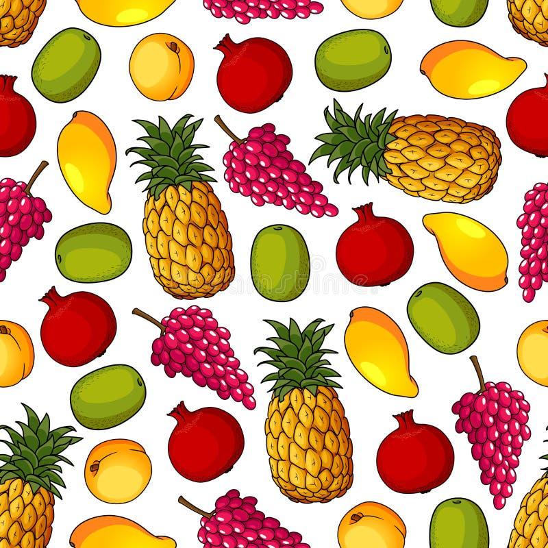 Nahtloses Muster von gesunden frischen Früchten lizenzfreie abbildung